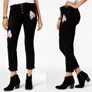 Black Daisy Jeans - Black Jamie Ripped Embroidered Boyfriend Jeans